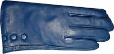 Women's Leather Gloves, Size Medium. Turquoise Blue winter Leather Dress gloves