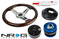 NRG 330mm Brown Wood Chrome Spoke Steering Wheel 141H Hub 2.0 BL Release Lock LB