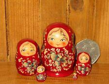Russian Wood nesting doll 5 tiny BURGUNDY Matryoshka MINIATURE Marchenko signed