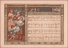 Music Sheet, Song, Bottle, Chromolithograph by Walter Crane, Original print1883
