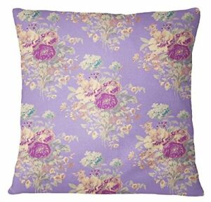 S4Sassy Lavender Floral Print Pillow Cover Decorative Square Throw-fWo