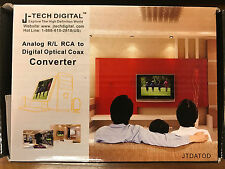 J-Tech Digital Analog R/L RCA to Digital Optical Coax Converter Brand New