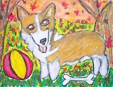 Pembroke Welsh Corgi Fall Fun Pop Art Print 8x10 Dog Collectible Artist Signed