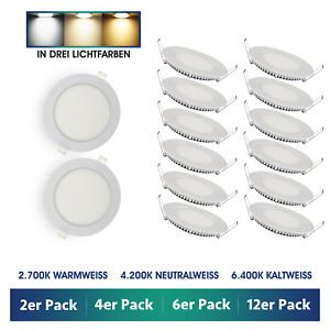 2er - 12er Pack LED Einbaustrahler Einbau-Leuchten rund flach 6W Einbau-Spot