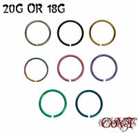 """18G & 20G Seamless Nose Hoop Ring 1/4"""" 5/16"""" 3/8"""" Endless Stud Piercing Anodized"""