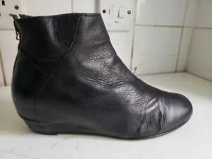 GERRY WEBER UK 5 EU 38 WOMENS BLACK REAL LEATHER FLAT WEDGE ANKLE WINTER BOOTS