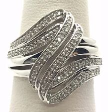 ELEGANT STERLING SILVER OVERLAP MARCASITE RING size 7  style# r1110