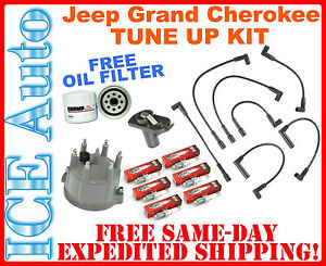FREE Oil Filter! TUNE-UP KIT 1994-1998 Jeep Grand Cherokee Plugs Wires Cap Rotor
