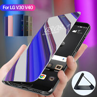 For LG V30 V40 Smart Clear View Mirror Case Flip Leather Wallet Stand Case Cover