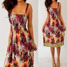 Yellow Black Burgundy Red Smocked Floral Dress M Medium