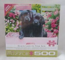 Eurographics Puzzle Jigsaw Puzzles BLACK LABS in PINK BOX # 8500-5462 2 Bl Labs