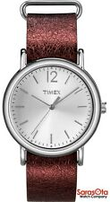 Timex T2P341 WR30M Metallic Oxblood Leather Strap Steel Case Women's Watch