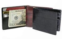 EEL SKIN Leather Men's Spring Money Clip Bifold Wallet Thin Card Holder