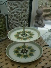 Denby Vintage SHERWOOD handpainted 2 tier Cake Plate Stand with NEW gold Handle