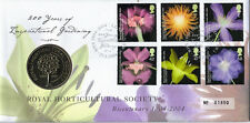 25 MAY 2004 ROYAL HORTICULTURAL SOCIETY ROYAL MINT COIN FIRST DAY COVER SHS
