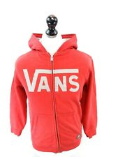 VANS Boys Hoodie Jacket L Large Red Cotton & Polyester