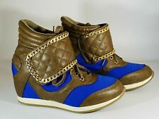 Ladies Hi Tops Hidden Wedge Shoes Faux Leather Chained Trainers Size 4 UK 37 Eu