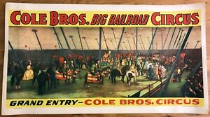Genuine Vintage 1941 Cole Brothers Big Railroad Circus Poster