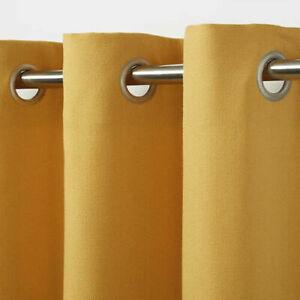 B&Q Taowa Yellow/Mustard Plain Unlined Single Ring Top Eyelet Curtain Panel X1