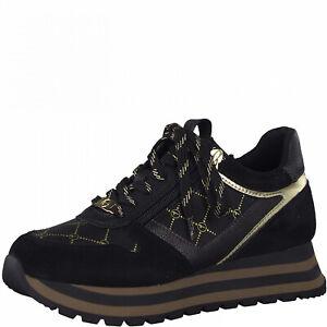 Tamaris Damen Sneaker Gr. 39, Leder, black gold, Wechsel-Fußbett, 23706