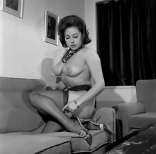 60s Nude Pinup Kneeling on couch in textured hose huge breasts 8 x 8 Photograph