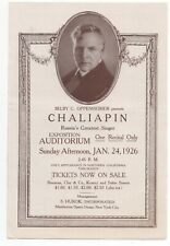 1926 Opera Program for Chaliapin Russia's greatest Singer at San Francisco CA