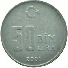 COIN / TURKEY / 50 LIRA 2001    #WT17448