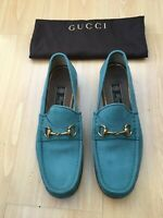 GUCCI MENS SHOES TURQUOISE BLUE NUBUCK LEATHER UK 9 EU 43 1953 SNAFFLE LOAFERS