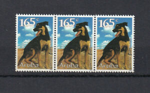 ARUBA 177 Two Strips of 3 MNH 1999 High Value from Dog set
