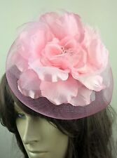 baby pink satin flower fascinator millinery burlesque wedding hat bridal race