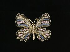 Brooch Goldtone Multicolored Rhinestones Gorgeous Understated Butterfly Pin