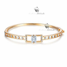 18k yellow gold filled made with swarovski crystal bangle bracelet openable