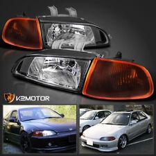 For 92-95 Honda Civic 2Dr/3Dr EG EH JDM Black Headlights+Smoke Amber Corner Lamp