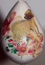 gourd Easter egg, yard art or Christmas ornament with fairy and flowers