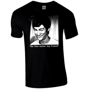 Bruce Lee Be Like Water My Friend front and back premium black T Shirt
