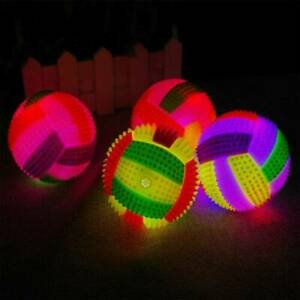 LED Volleyball Flashing Light Up Color Changing Bouncing Hedgehog Ball Dog Toy #