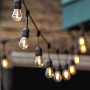 Heavy Duty LED String lights Outdoor IP65 Waterproof 48ft Cable Gazebo Garden