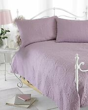 Dusky Pink Reversible Quilted Bedspread Throw Comforter & Pillow Shams 240x260cm