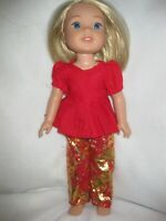 Wellie Wishers doll clothes/gold/red slacks/red top/handmade