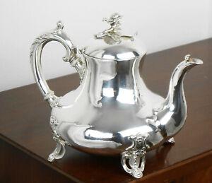 ANTIQUE SILVER PLATED TEA POT C. 1870 - VICTORIAN