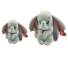 2019 SET of 2 TY Beanie Babies DUMBO Elephant Plush (Medium & Reg) w/ Heart Tags