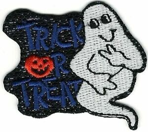 """1 5/8"""" x 1 7/8"""" Halloween Trick or Treat Spooky Night Ghost Patch"""