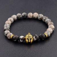 Charm Men Natural Opal&Black Lava Stone Gold Spartan Helmet Bracelet 8mm Beaded