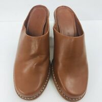 Antonio Melani Women's Saddle Brown Leather Mules Size 5.5M