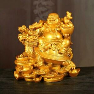 Laughing Buddha God of Wealth Resin Statue Sculpture Figurine Home Office Decor