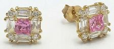 PINK & WHITE SAPPHIRE STUD Earrings 14k Yellow Gold *** FREE SHIPPING SERVICE **
