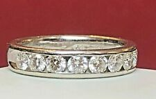 VINTAGE ESTATE 18K WHITE GOLD NATURAL DIAMOND RING BAND WEDDING SIGNED  LEO KAY