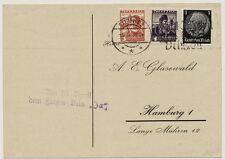 ÖSTERREICH 1933 AUSLANDSKARTE, MISCHFRANKATUR! SALZBURG - HAMBURG (Deutschland)
