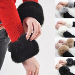 1 Pair Wrist Warmer Faux Fur Wristband Oversleeve Cuff Boot Cover Fuzzy Warm