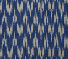 "Hand-Woven Cotton Ikat Drapery Fabric Artisan Blue White Cheveron 44"" wide"